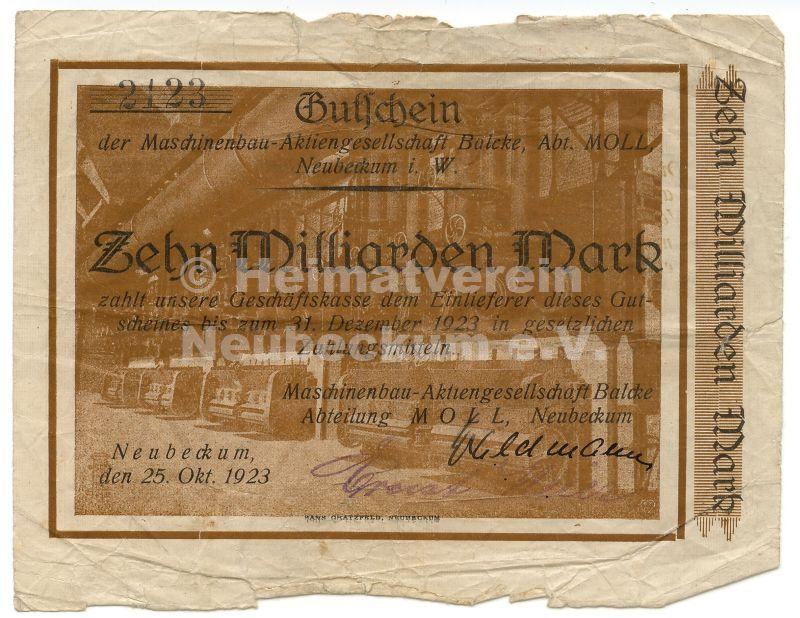 Balcke Firmennotpapier 1923